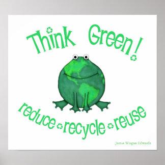Rana ambiental del Día de la Tierra Póster