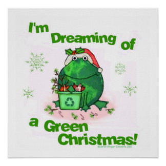 Rana ambiental del navidad verde póster