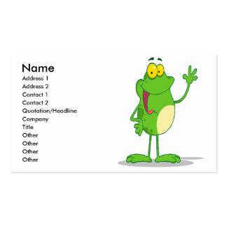 rana amistosa tonta del froggy que agita tarjetas de visita