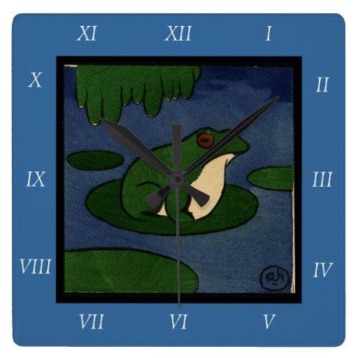 Rana - anticuaria, ejemplo de libro colorido reloj cuadrado