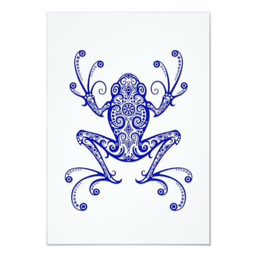 """Rana arbórea azul compleja en blanco invitación 3.5"""" x 5"""""""