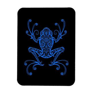 Rana arbórea azul compleja en negro imán flexible