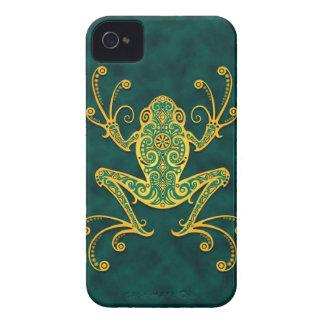 Rana arbórea azul de oro compleja iPhone 4 cárcasa