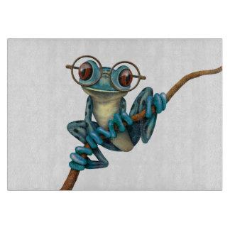 Rana arbórea azul linda con los vidrios del ojo en