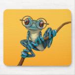 Rana arbórea azul linda con los vidrios del ojo en tapetes de raton
