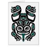 Rana arbórea azul y negra del alcohol del Haida Tarjetón