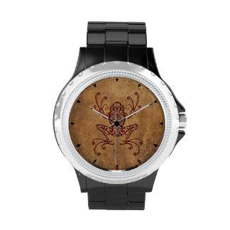 Rana arbórea compleja del vintage reloj de mano
