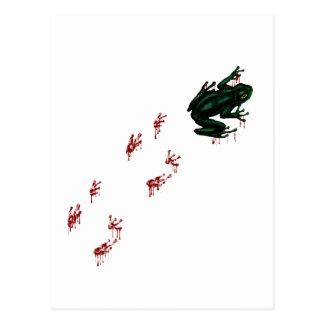 Rana arbórea con las pistas sangrientas tarjeta postal