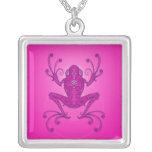 Rana arbórea - de color rosa oscuro collar personalizado