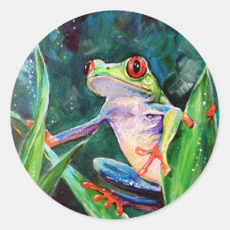 Rana arbórea de Costa Rica Pegatina Redonda