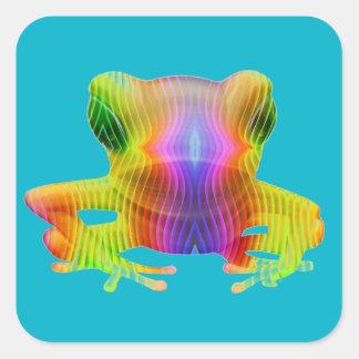 Rana arbórea del arco iris pegatina cuadrada