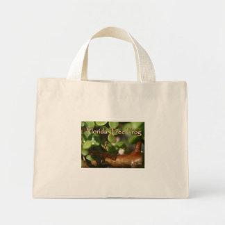 Rana arbórea del bebé en planta de los bonsais con bolsas de mano