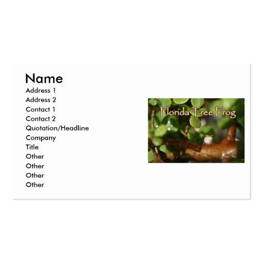 Rana arbórea del bebé en planta de los bonsais con tarjetas de visita