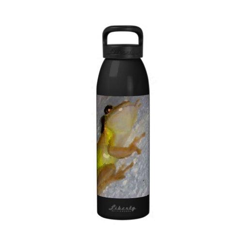 rana arbórea en estilo de la acuarela de la pared botellas de agua reutilizables