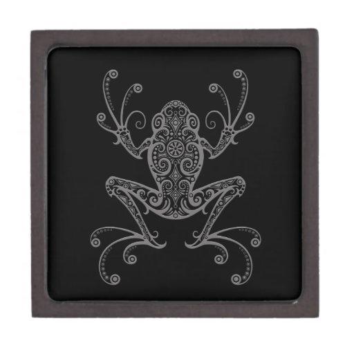 Rana arbórea gris compleja en negro caja de joyas de calidad