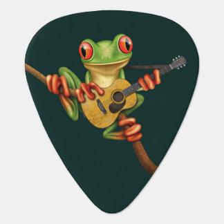 Rana arbórea linda que juega un trullo de la uñeta de guitarra