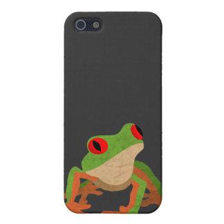 Rana arbórea observada rojo iPhone 5 carcasa