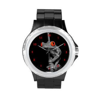 Rana arbórea observada rojo reloj de mano