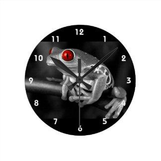 Rana arbórea observada rojo reloj redondo mediano
