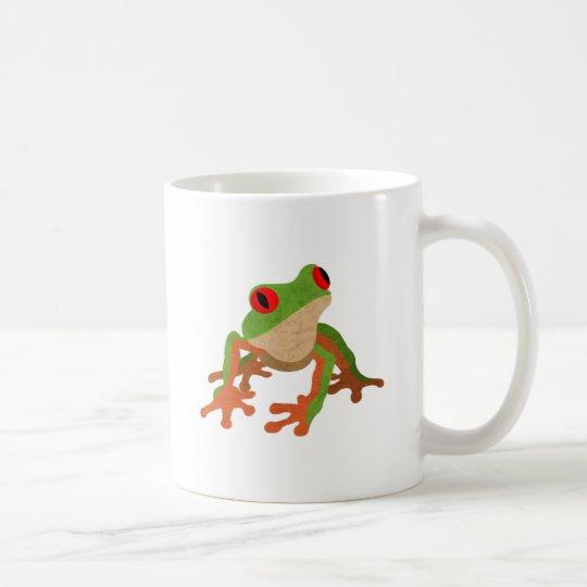 Rana arbórea observada rojo taza de café