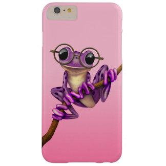 Rana arbórea púrpura linda con los vidrios del ojo funda de iPhone 6 plus barely there