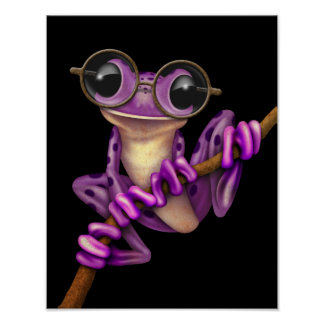 Rana arbórea púrpura linda con los vidrios del ojo posters