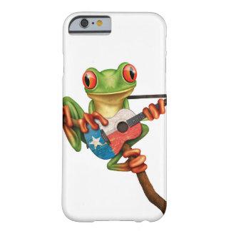 Rana arbórea que juega blanco de la guitarra de la funda de iPhone 6 barely there