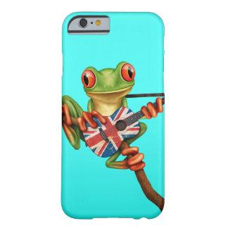 Rana arbórea que juega el azul británico de la funda de iPhone 6 barely there