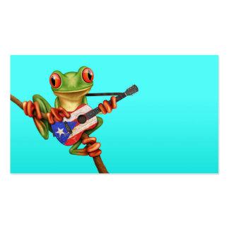 Rana arbórea que juega el azul de la guitarra de tarjetas de visita