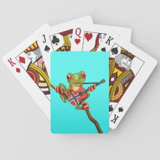 Rana arbórea que juega el azul noruego de la cartas de juego