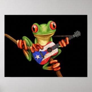 Rana arbórea que juega negro de la guitarra de la póster