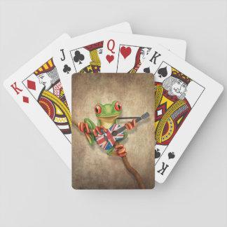 Rana arbórea que toca la guitarra británica de la baraja de cartas