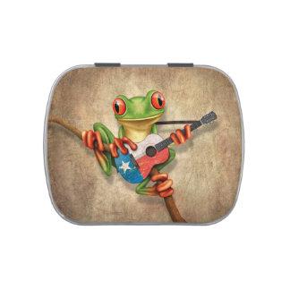 Rana arbórea que toca la guitarra de la bandera de latas de caramelos