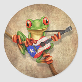 Rana arbórea que toca la guitarra de la bandera de pegatina redonda