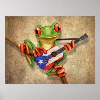 Rana arbórea que toca la guitarra de la bandera de póster