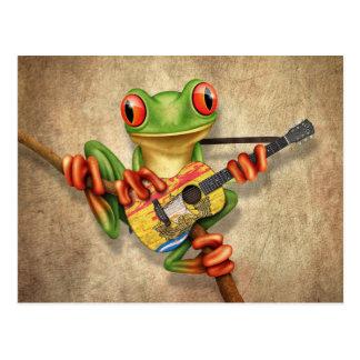 Rana arbórea que toca la guitarra de la bandera de postales