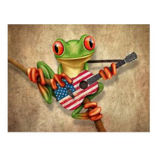 Rana arbórea que toca la guitarra de la bandera