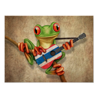 Rana arbórea que toca la guitarra tailandesa de la póster