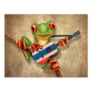 Rana arbórea que toca la guitarra tailandesa de la tarjeta postal