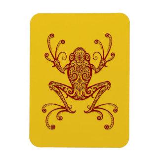 Rana arbórea roja compleja en amarillo imán flexible