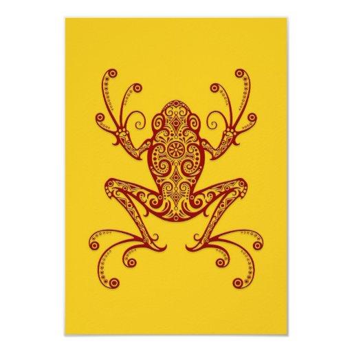 Rana arbórea roja compleja en amarillo invitación 8,9 x 12,7 cm