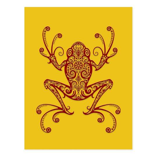Rana arbórea roja compleja en amarillo tarjeta postal