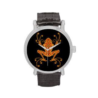 Rana arbórea roja y amarilla compleja relojes de pulsera