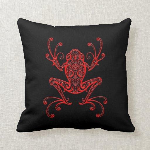 Rana arbórea roja y negra compleja almohadas