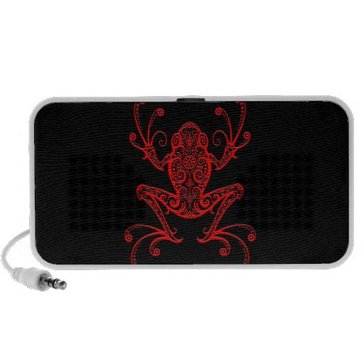Rana arbórea roja y negra compleja laptop altavoz
