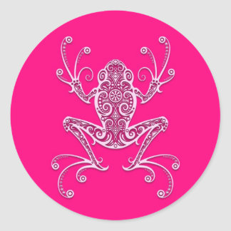 Rana arbórea rosada compleja pegatina redonda