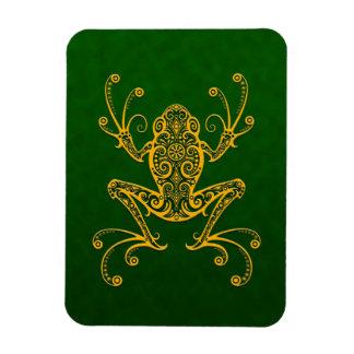 Rana arbórea verde de oro compleja imanes