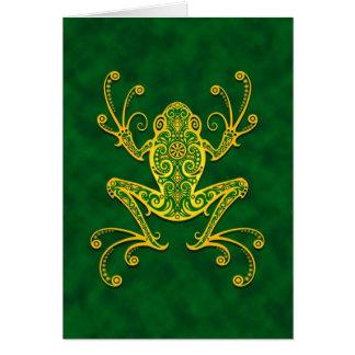 Rana arbórea verde de oro compleja felicitación
