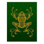 Rana arbórea verde de oro compleja tarjeta postal