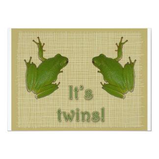 ¡Rana arbórea verde es gemelos! Invitación